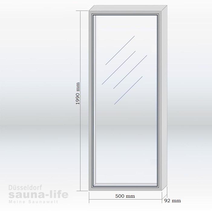Saunatür Glas glaselement 45 x 194 klarglas