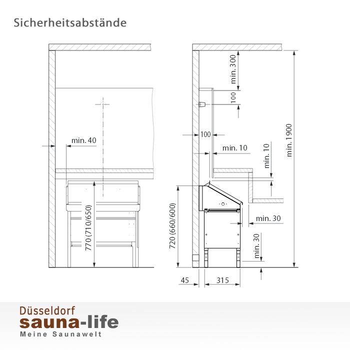 f r verdeckte montage unter saunab nken. Black Bedroom Furniture Sets. Home Design Ideas